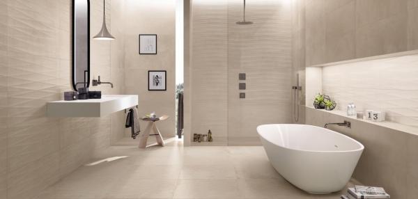 Salle de bains entièrement carrelée - ton beige