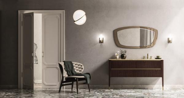 Meuble de salle de bains en bois - dessus marbre