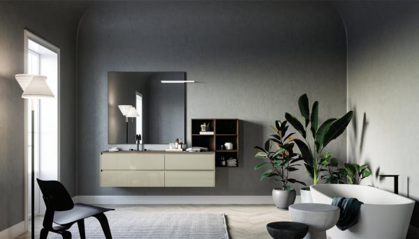 Meuble de salle de bains avec une ambiance nature