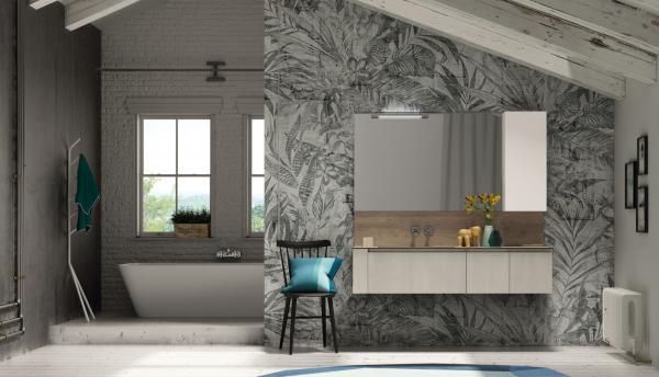 Meuble de salle de bains avec dessus bois
