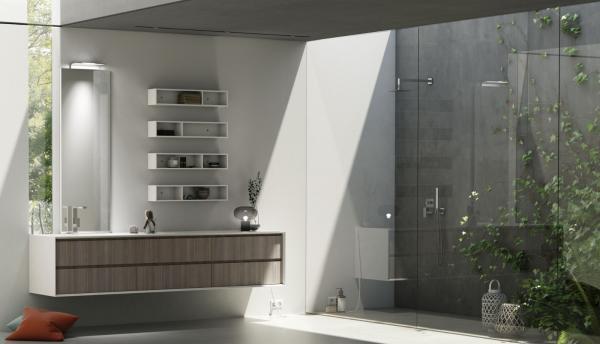 Meuble de salle de bains grand format avec façade stratifié imitation bois