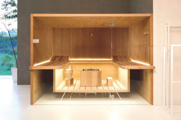 Sauna avec bans suspendus