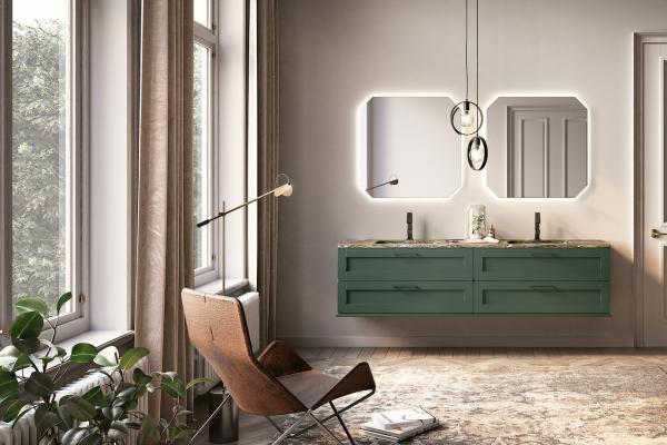 Meuble de salle de bains vert