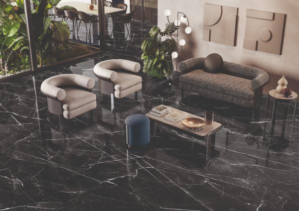 Carrelage sol imitation marbre noir
