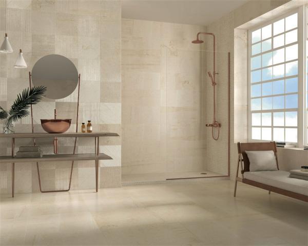 Douche à l'italienne avec carrelage beige
