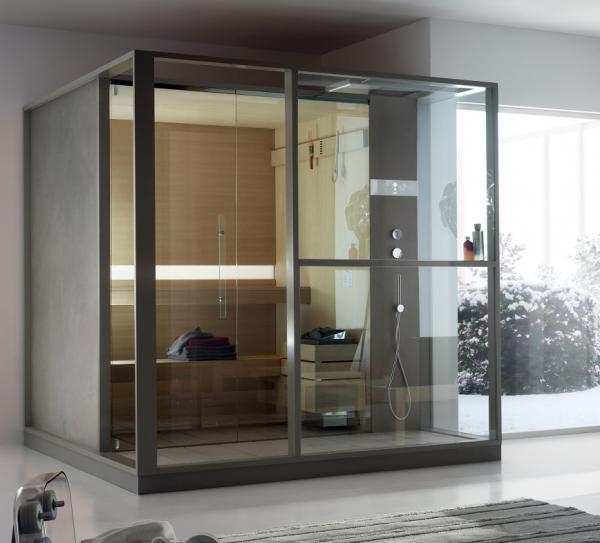 Sauna avec douche intégrée
