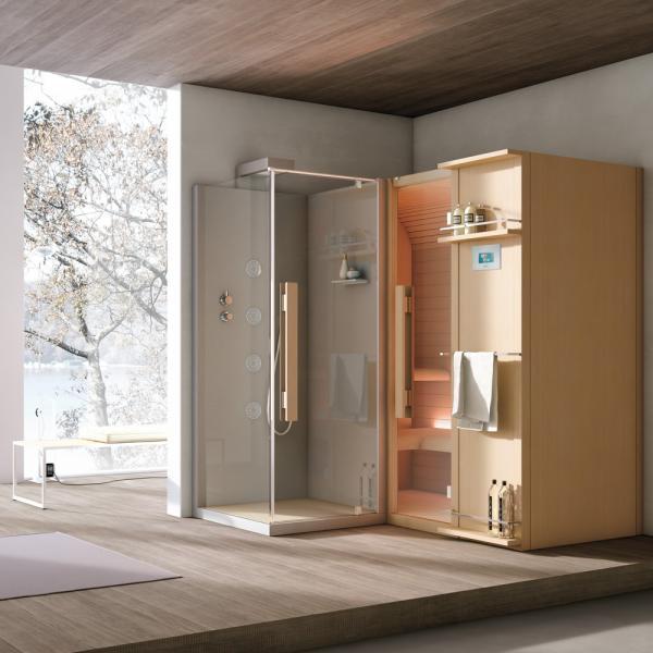 Sauna avec douche intégrée en angle