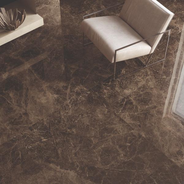 Carrelage sol avec effet marbre marron - Nord-Pas-de-Calais
