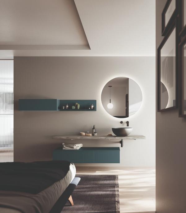 Meuble de salle de bains contemporain avec plateau en bois gris