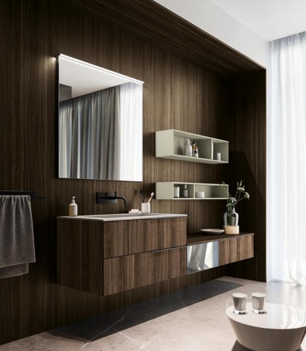 Meubles de salle de bains avec façades bois
