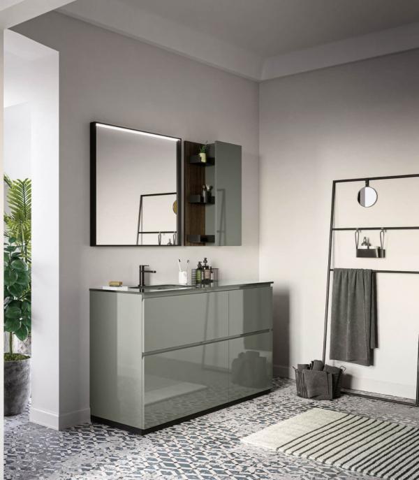 Meuble de salle de bains autoportant avec grande capacité de stockage