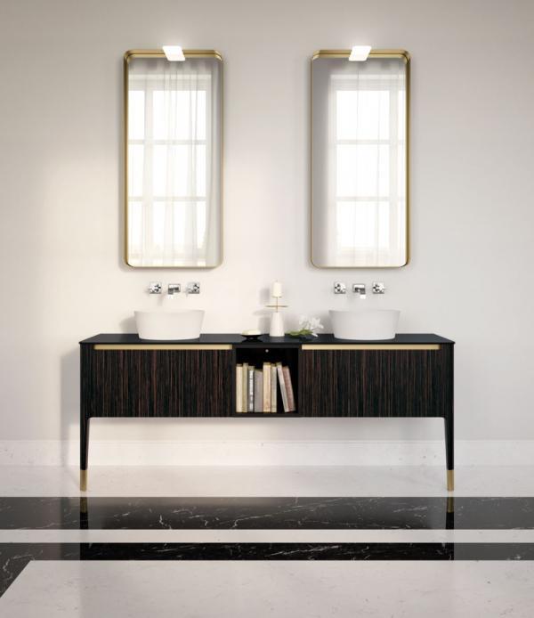 Meuble de salle de bains en stratifié et miroirs aux contours en aluminium bronze