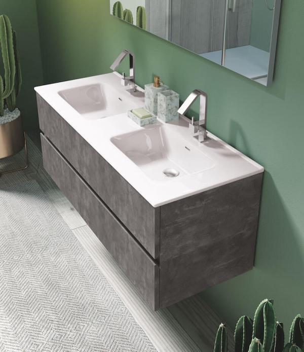 Meuble salle de bains épuré gris avec les vasques encastrées
