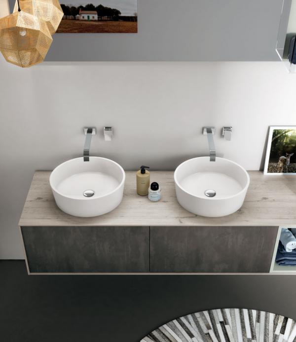 Meuble de salle de bains gris