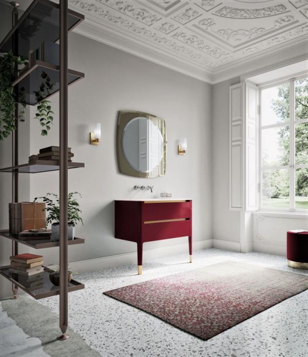 Meuble de salle de bains rouge