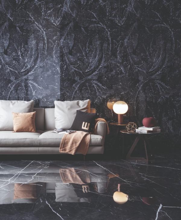 Carrelage sol et mur effet marbre tendance