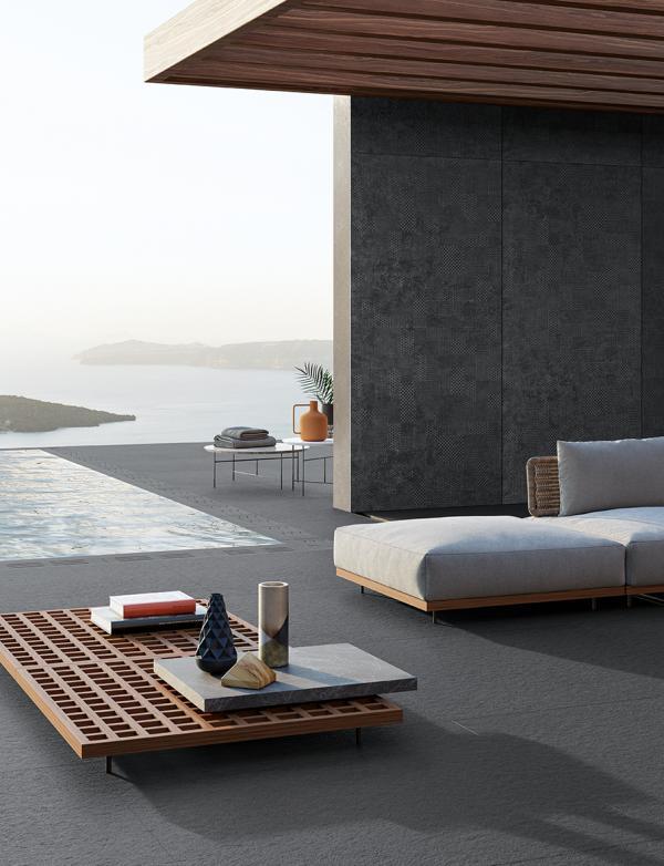 Carrelage sol grand format effet béton - terrasse sur plots