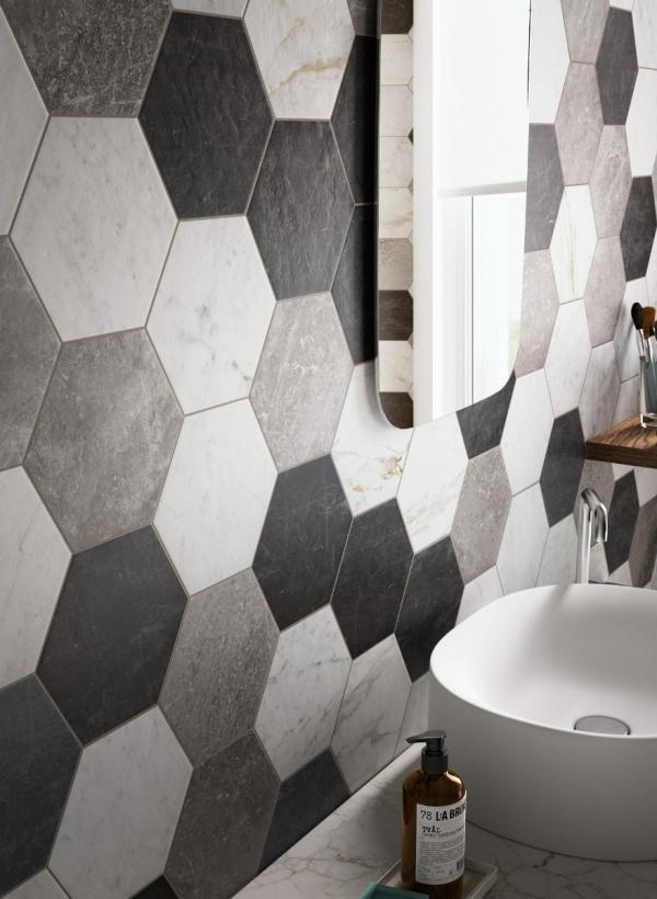 Carrelage mural hexagone effet marbre