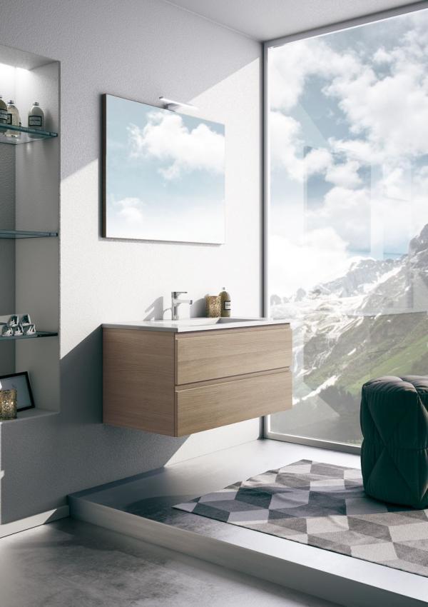 Meuble de salle de bains avec des façades en stratifié bois.