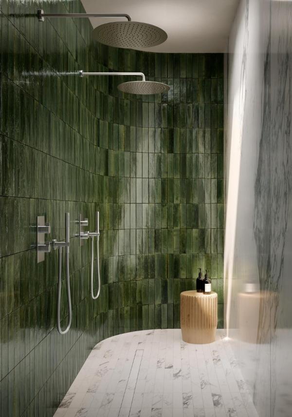 Douche à l'italienne avec carrelage effet zellige