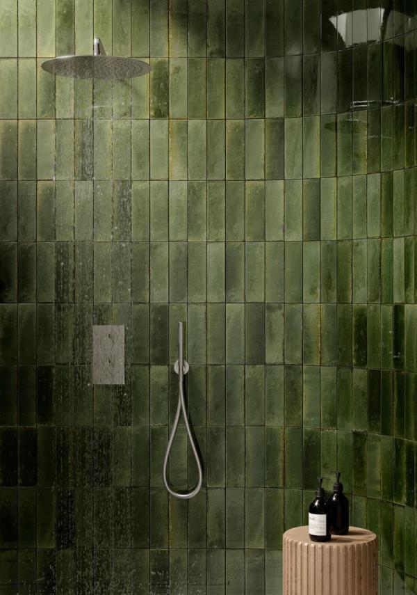 Faïence murale - style zellige - vert