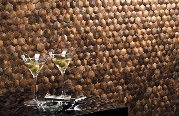 Carrelage mural mosaïque effet cuivre
