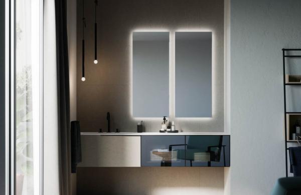 Meuble de salle de bains avec tiroirs portes transparentes