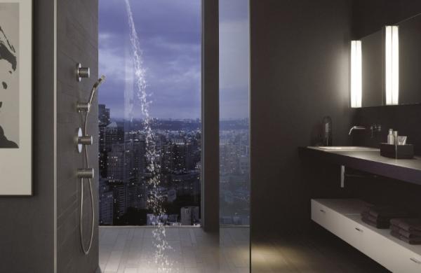 Douche à l'italienne  - sans porte et avec un receveur à poser