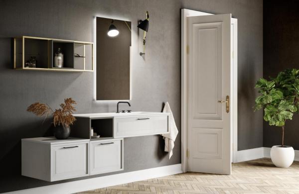 Meuble de salle de bains asymétrique avec poignées