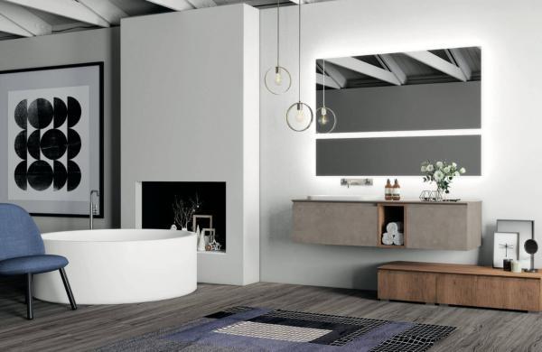 Meuble de salle de bains effet ciment
