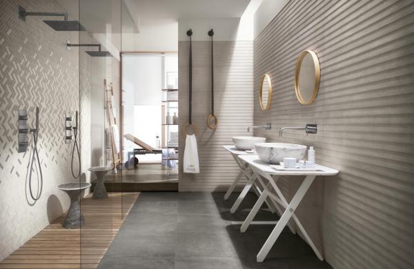 Salle de bains cosy aux teintes naturelles