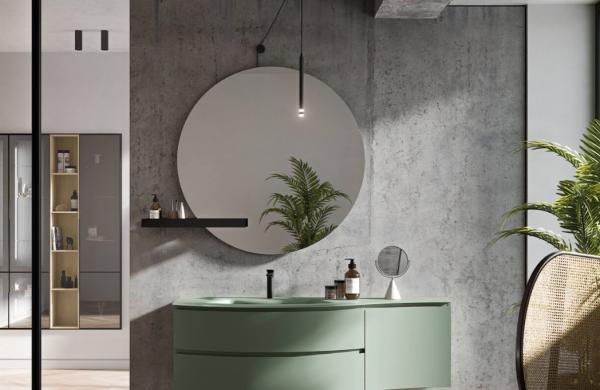 Meuble de salle de bains aux formes originales et avec beaucoup de rangements